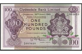 banknote yearbook clydesdale bank limited 100 29 april 1965 serial number c a
