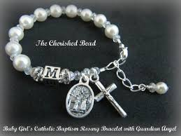 baby rosary bracelet baby girl s personalized catholic baptism by thecherishedbead