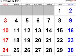 november 2013 calendars for word excel pdf