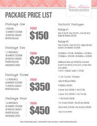 wedding planner packages photography price list pricing list for photographers price