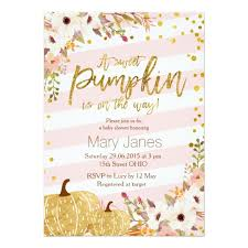 pumpkin baby shower invitations announcements zazzle