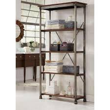 Iron And Wood Bookcase Bookcases Home Office Furniture The Home Depot