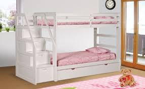 White Bunk Bed With Trundle Bunk Bed With Trundle Drawer Steps White Finish
