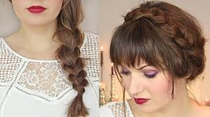 cute hairstyles for thin hair thick braid u0026 milkmaid updo youtube