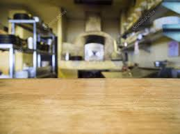 Wooden Kitchen Table Background Top Of Wooden Table With Blurred Kitchen Background U2014 Stock Photo
