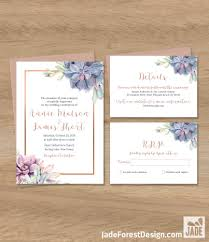 wedding invitations rose succulent wedding invitation greenery and rose gold geometric