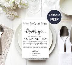 wedding thank you cards wedding thank you note template wedding table thank you