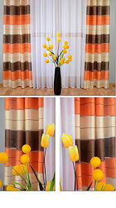 Orange And Brown Curtains Supplied By M Textiles A Pair Of Pencil Pleat Striped Voile
