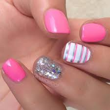 pink and sparkly silver nail design for short nails nailed it