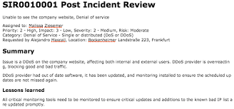 incident summary report template post incident review servicenow docs