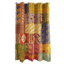 Sari Fabric Curtains Kantha Shower Curtain Recycled Sari Handmade Kantha