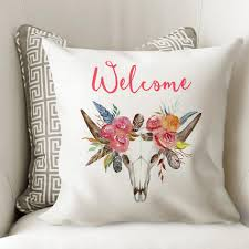 Home Decor Antlers Floral Boho Pillow Cover Antlers Skull Home Decor Tribal Cattle Bu