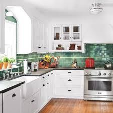 Green Backsplash Kitchen Wood Floor Coutertop White Cabinets Green Backsplash My