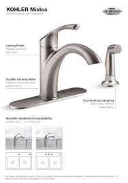kohler kitchen faucet installation kohler mistos single handle standard kitchen faucet with side