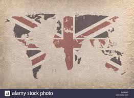 Uk World Map by Vintage World Map With Uk Flag On Paper Craft Map From Nasa Stock