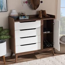 Modern White Computer Desk Baxton Studio Brighton Mid Century Modern White And Walnut Wood