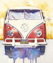 volkswagen bus art vintage fine art print andrea merican arizona watercolor artist