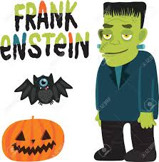 halloween character frankenstein with pumpkin and bat royalty free