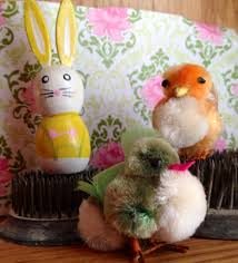 chenille easter vintage chenille easter and wooden bunny vintage chenille