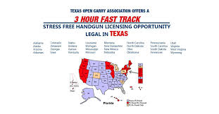 Concealed Carry Reciprocity Map Texas Open Carry Association Texas License To Carry A Handgun