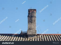 close old chimney flue on roof stock photo 721581829 shutterstock