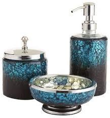 Blue Glass Bathroom Accessories Peacock Mosaic Bath Accessories