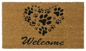 Wipe Your Paws Coir Coco Heart Shaped Paws Welcome Mat Contemporary Doormats By