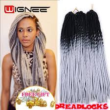 20 inch hair extensions wholesale 20 inch ombre black grey color faux locs crochet braids