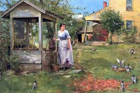 bird watching at the well by henry bacon painting id la 0526 ka