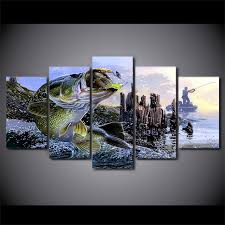 bass fishing home decor 5 panel hd printed framed largemouth bass fishing wall art picture