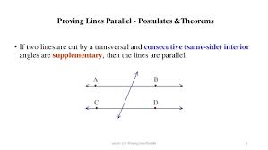 Same Side Interior Angles Postulate 5 3 Finding Angles