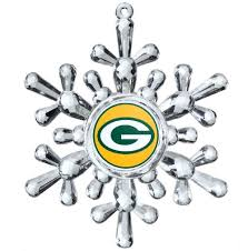 bay packers cut snowflake ornament
