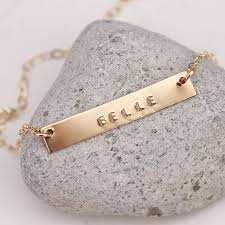 Name Bar Necklace Gold Or Silver Horizontal Name Bar Necklace By Lulu Belle