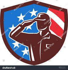 American Flag Hard Hat Illustration American Soldier Serviceman Silhouette Saluting Stock