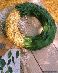 straw form and laurel wreath martha stewart