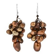 Confederate Flag Jewelry Hanging Cluster Of Bronze Freshwater Pearls Dangle Earrings Aeravida