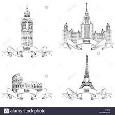 european cities symbols sketch paris eiffel tower london big