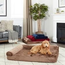 Plush Sofa Bed Furhaven Plush U0026 Suede Sofa Style Orthopedic Bolster Pet Bed