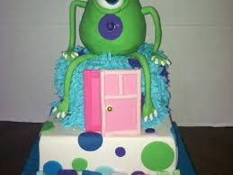 inc baby shower monsters inc baby shower cake two tiered square white base polva