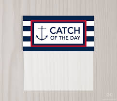 catch of the day preppy nautical favor bag toppers navy blue