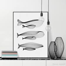 2017 modern minimalist black white abstract animals whale family