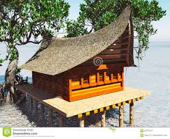 house on stilts in the mangrove forest beach architecture 3d