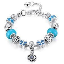 bracelet beads pandora style images Blue lady butterfly silver pandora style bracelet combo set with jpg