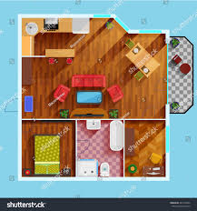 one bedroom apartment floor plan kitchen stock vector 441479362