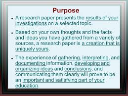 writing of research paper writing a research paper ppt video online download purpose a research paper presents the results of your investigations on a selected topic