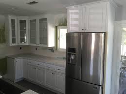 kitchen snow white cabinets u0026 quartz slab mitered edge