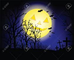 halloween invitation or background with spooky castle and bats