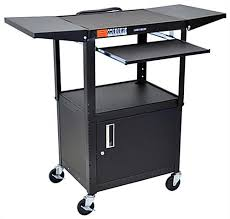 multimedia cart with locking cabinet av carts w locking media cabinet shelves that fold up