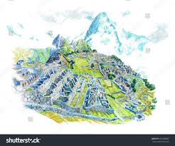Machu Picchu Map Machu Picchu Line Art Stock Illustration 657689887 Shutterstock