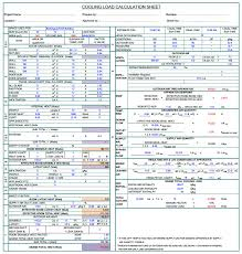 Hvac Load Calculation Spreadsheet by Cooling Load Calculation Hvac For Gas Offshore